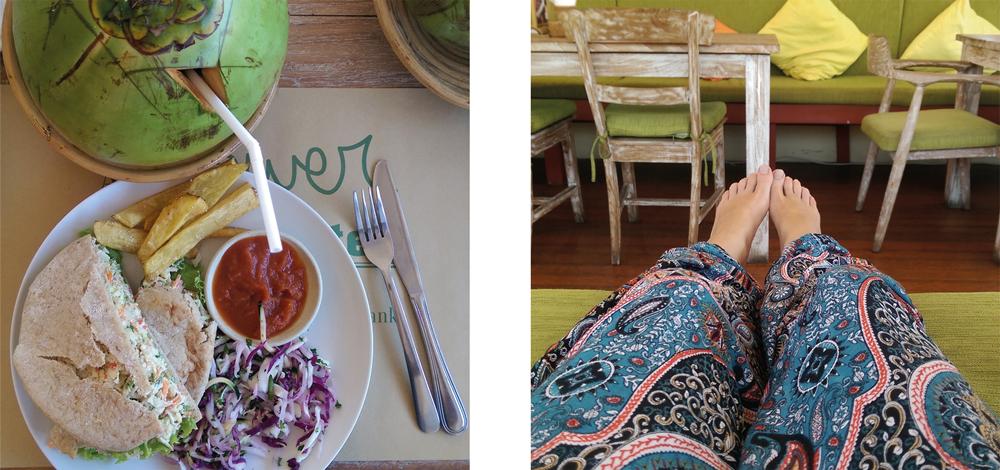 Vegane Sandwiches & eine frische Kokosnuss im Down to Earth Bali, Sanur