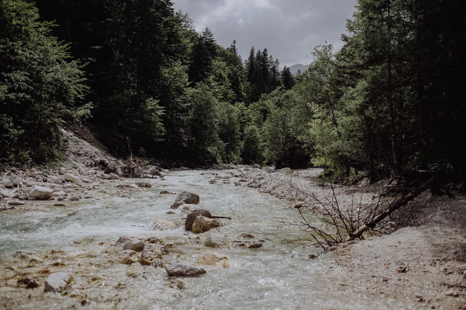 Wandern Slowenien Vrata Tal Wasserfall Pericnik